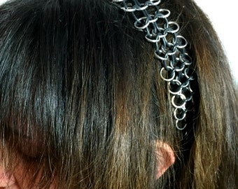 Silver & Black Headband Necklace - Aluminum, Rubber - European 4-in-1 - Chainmail Jewelry