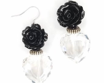 Black Rose and Crystal Heart Earrings