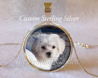 CUSTOM STERLING DOG Pendant Dog or Cat Personalized Custom Pet Necklace Photo Kitty Lover Gift for Dog Lover Your Pet Photo Pet Memorial