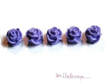 Set of 5 dark purple roses resin embellishment scrapbooking card *.