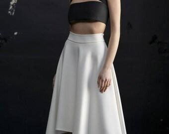 Bridal skirt / Midi skirt / White asymmetric skirt / White midi skirt / High waist skirt / White party skirt / Evening skirt /  Midi skirts