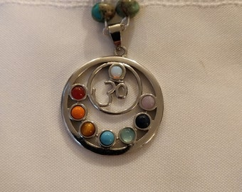 Chakra pendant with beaded chain