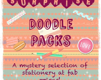Mystery Surprise Doodle Pack • Stationery • Goody Bag • Lucky Dip • Gift for her • Treatbox • Stationery Addict • Party Bags