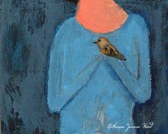 Acrylic Portrait Painting. Handmade Art Gift For Women. Ready to Ship. Office Decor. Home Wall Decor. Singing the Blues. Girl and Bird Art