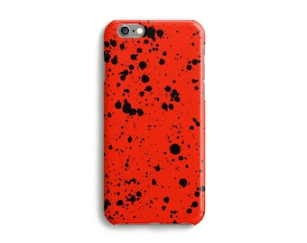 Red Speckled Ink Phone Case, iPhone 7, 6, 6s, Plus, SE, 5s, 5c, 4s, unique  spotted design cover, Samsung, S8, S8 Plus, Google Pixel,