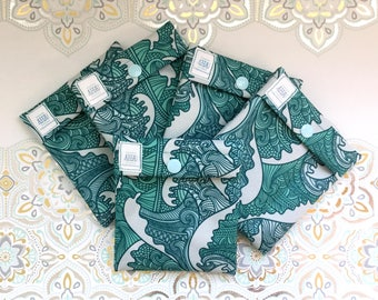 Zentangle Waves Print Wet Pouch for Cloth Menstrual Pad, Snap Close Pad Wrapper, Menstrual Cup Pouch, Cloth Pantyliner WetBag, Tampon Holder