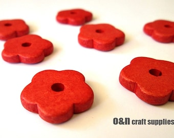 Flower greek ceramic beads, coral red beads - set of 8