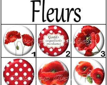 Set of 4 cabochons 16mm, glass, flowers, poppies, flowers