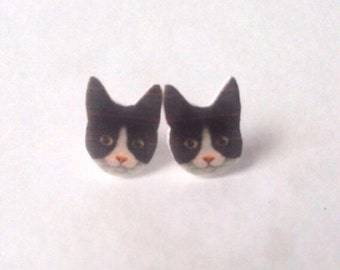 Tuxedo cat earrings cat jewelry black and white cat kitty cat lover gift stud post