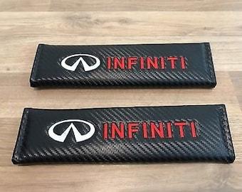 2pcs Carbon Fiber Auto Car Seat Belt Cover Pads Shoulder Cushion fit for IFINITI