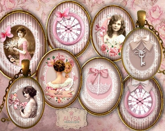 Shabby Chic Collage Sheet, digital OVAL images 30,25,18m + Gift Tags & Holders Instant Download Printables - jewelry pendants, cabochons