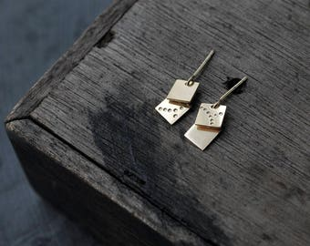 Double square spangles insilver or Vermeil earrings