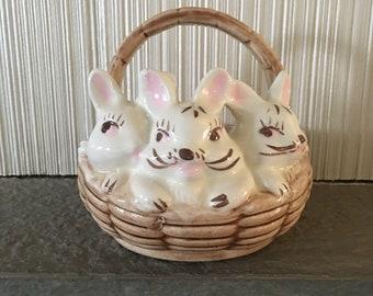 Vintage Atlantic Mold Co/Ceramic Bunny Basket 1960s