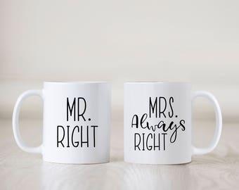 Mr Right & Mrs Always Right Mug Set, Engagement Gift, Mugs, Wedding Mugs, Funny Mugs, Newlyweds, Wedding Gift, Present, Coffee, His and Hers