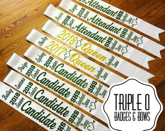 Homecoming Prom Sweetheart Dance Sashes  - personalized