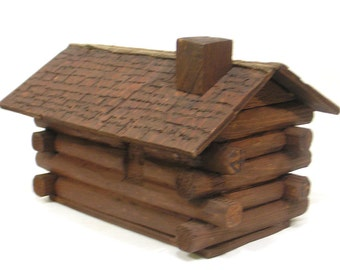 Vintage Primitive Wood Log Cabin Bank