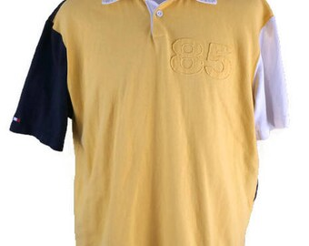 Vintage Tommy Hilfiger Jeans 85 Polo Shirt Size Large Yellow Navy White