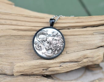 Lion and Serpent Amulet Pendant Necklace - Silver