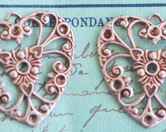 Two Neo Victorian Brass Filigree Heart Charms, Rose ox, Filigrees and Brass Stampings Made in the USA