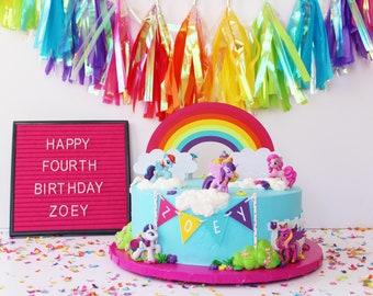 Rainbow Cake Topper | Colorful Rainbow Birthday Cake Topper | ROY G BIV Topper | PRIDE | Pony Party | Unicorn Birthday