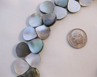 """Mother of Pearl Teardrop gray/black Briolettes 15"""" Strand"""
