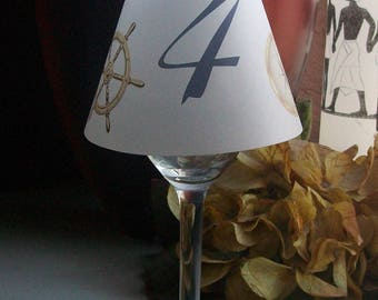Vellum Luminarie Wine Glass Shade - Table Numbers - Nautical - Yacht Club - Champagne - Lantern - Luminaria - Shades