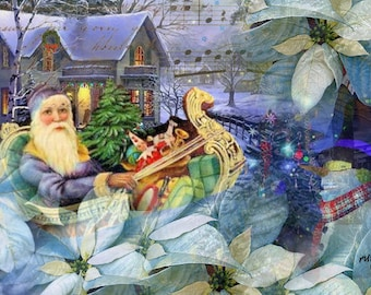 ZNE ATC ACEO - Santa in Blue- Digital Collage Art by ruby