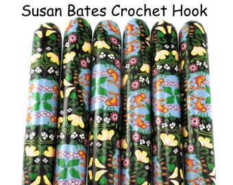 Crochet Hook, Polymer Clay Covered Susan Bates Crochet Hook, By the Pond, Fish, Ergonomic Crochet Hook