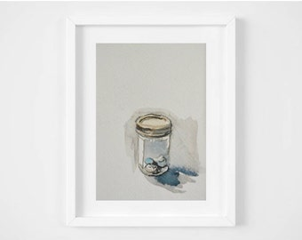 Original 5 x 7 Watercolor Painting - Glass Jar with Egg Shells
