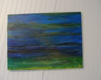 Moonlight on the Bay Abstract  Acrylic painting 24 x 18 canvas