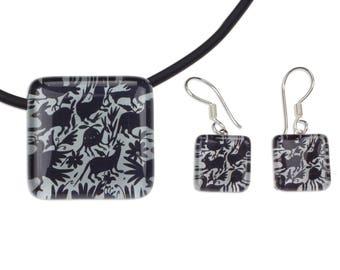 Black and White Artisan Crafted Art Glass Jewelry Set 'Tenango Wonder'