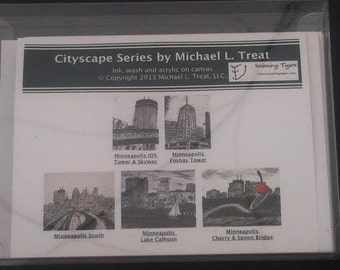 Minneapolis Card Set: Set of 5 Note Cards Featuring Minneapolis, MN