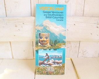 Vintage Vancouver map SW British Columbia tourist folded paper souvenir 1980s- free shipping US
