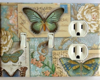 Butterfly Switchplates & MATCHING SCREWS- Butterfly wall decorations butterflies butterfly switch plate covers butterfly plates rocker plate
