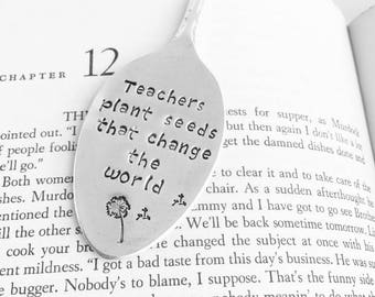 Vintage Spoon Bookmark - Teacher gift idea - Flattened hand stamped spoon bookmark - Engraved gifts for teachers - Unique Christmas gifts