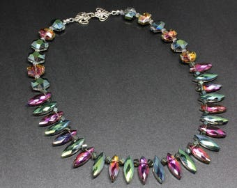 Rainbow AB Crystal Necklace, Vitrail Medium, Spiky Crystals, Briolette Crystals, Glamour Necklace, Statement Necklace