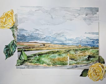 original watercolor of landscape with yellow roses