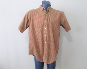 Mens Checked Shirt Vintage 1970s Short Sleeve Button Front Lighweight Cotton XL