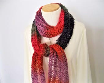 Knit Scarf - Multicolor Lacy Knit Scarf -  Red, Purple, Lavender, and Green Scarf - Womens Scarf - Hand Knit Scarf - Gift for Her -