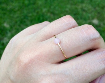 Minimalist gold ring, silver ring, rose quartz ring, delicate ring, dainty ring, stacking ring, beaded ring, thin ring, mix and match rings