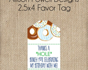 Boy Donut  Birthday Party Printable- Print your own - Favor Tag