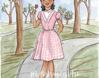 1950's Vintage Sewing Pattern Inspired Illustration