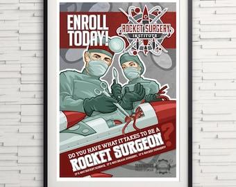 Rocket Surgery Institute print- rocket science- gifts for surgeons- science gifts- wall art- science humor- NASA- aerospace- engineers