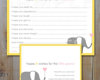 Baby Shower Hopes and Wishes Cards /Little Peanut Elephant / Instant Download / PRINTABLE /  82100