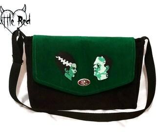 Frankenstein handbag, shoulder bag, purse, velvet, gothic, monster movie
