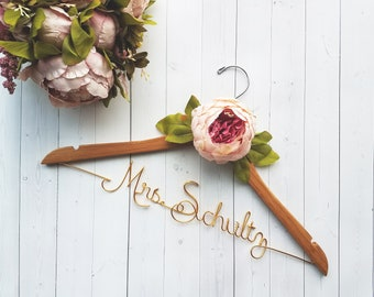 Wedding Dress Hanger With Pink Peony - Personalized Hanger - Custom Hanger - Bride Hanger - Bridal Hanger - Bride Gift - Bridal Shower Gift
