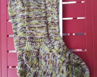 Gorgeous hand knitted socks, size 6-8 Green/purple colourway, very very soft, mid calf length hand dyed merino/nylon, 80/20 yarn