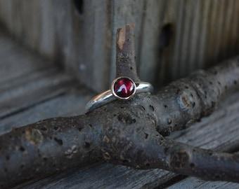 Garnet Ring, Garnet, Gold Garnet Ring, Gold Bezel, Sterling Silver, January Birthstone