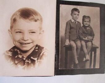 Vintage Photography Lot 4 Photos Portraits Children