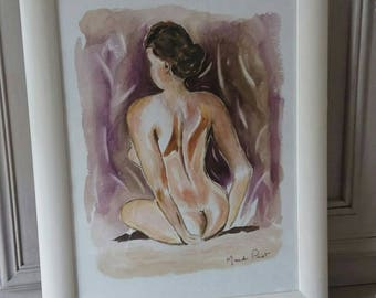original watercolor painting naked woman framed under glass